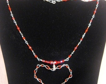Sterling Glass Wrapped Necklace And  Pendant