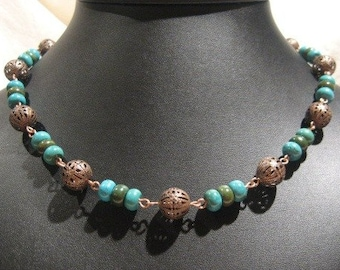 Genuine Turquoise And Antiqued Copper Filigree Beaded Necklace
