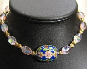 Pink Crystal And Flower Cloisonn'e Beaded Choker