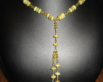Natural Green Yellow Turquoise, Imperial Crystal  Nekclace