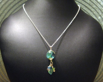 Aqua & Blue Hues Sterling Silver Hand Wrapped Marble Pendant Necklace