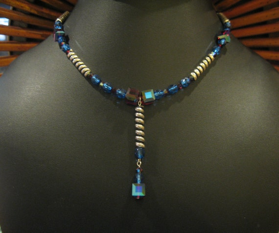 Blue And Red Sterling And Crystal Drop Pendant Necklace