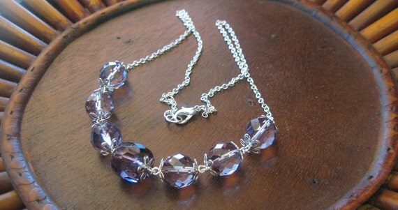Purple-Violet Hued faceted Czech Glass Beaded Necklace