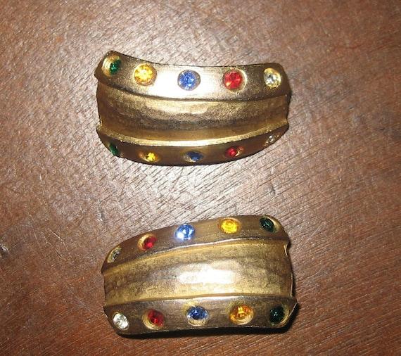 Chunky Gold Tone Vintage Modern Colored Rhinestone Clip On Earrings