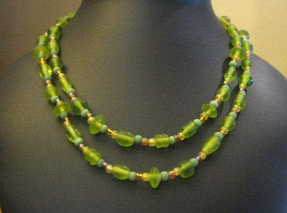 Kiwi Lime Peridot Color Long Glass Beaded Necklace