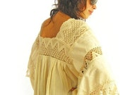 Romantic Mexican Natural Maxi Dress Vintage Excellent Condition Hippie Fairy chic Bohemian wedding dress