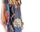 Old Gold Mexican dress bohemian vintage embroidered tunic