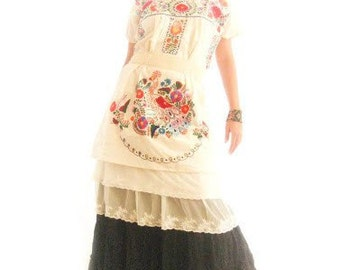 Mexican Embroidered peacock maxi Dress lace ruffled Natural eco friendly manta colorful embroidered