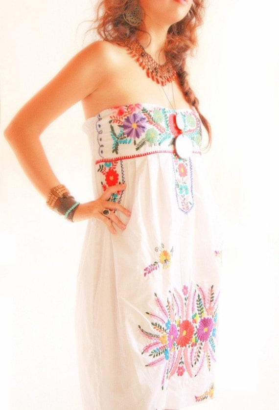 Fiesta mexican embroidered dress corset strapless by