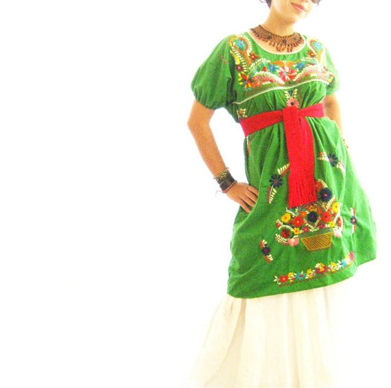 Reserved mexican jade embroidered tunic dress by aidacoronado