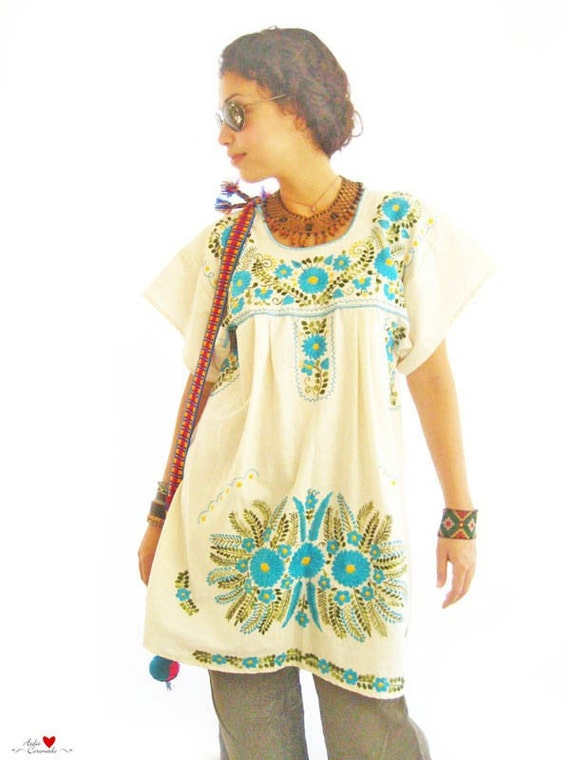 Mexican tunic dress embroidered handmade by aidacoronado