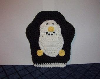 Peguin Bath Mitt - penguin,crochet,bath mitt,wash cloth, kids. Tub toy,baby gift, birthday gift,puppet