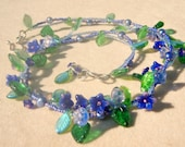 Blue flowers on the vine necklace