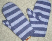 Purple striped mittens lined with cashmere