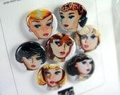 Vintage Watercolor Barbie Mini Button Set