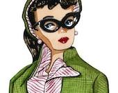 Green Tweed Jacket Vintage Barbie Square Print