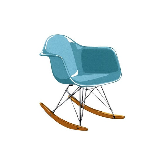 ... similar to Turquoise Molded Plastic Rocker Chair Square Print on Etsy
