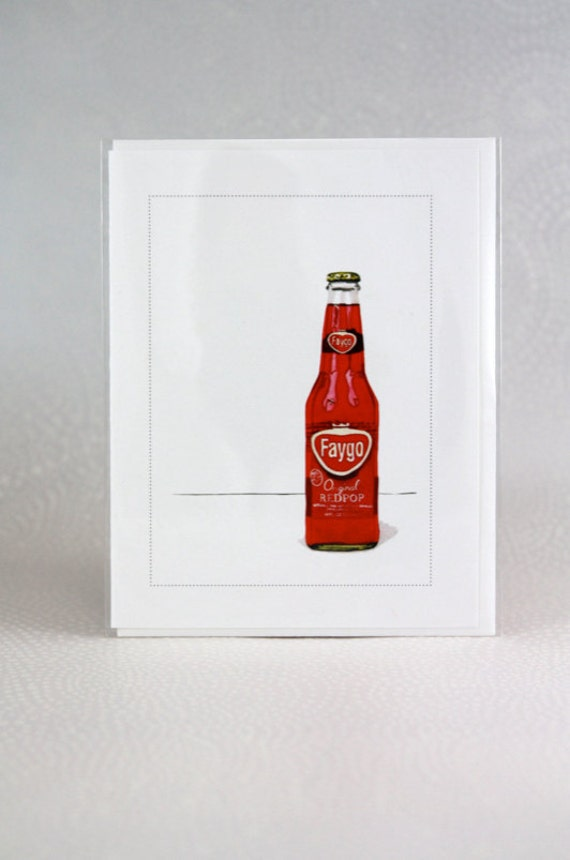 Vintage Faygo Red Pop Watercolor Card