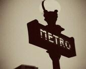 Place d'Italie Metro Sign (Sepia), Paris - 8x10 Photograph