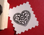Pennsylvania Dutch Heart Rubber Stamp - Handmade by BlossomStamps