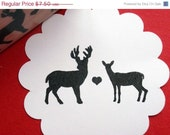 Deer Rubber Stamp Buck and Doe Love - Optional Customized  -  by Blossom Stamps
