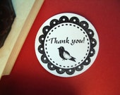 Thank You Rubber Stamp Black Bird - Handmade, Original Art - by BlossomStamps