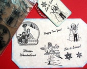 Winter Christmas Retro Unmounted Rubber Stamp Set of 8 - Handmade by Blossom Stamps