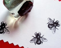 Bee Rubber Stamp -  Handmade Rubber Stamp by BlossomStamps
