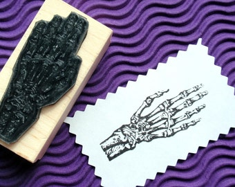 Anatomy Bone Hand Halloween Rubber Stamp - Handmade by Blossom Stamps