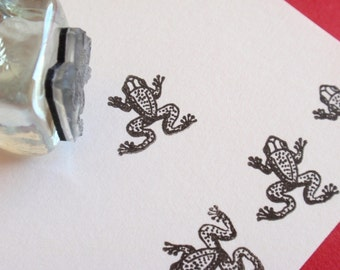 Frog Rubber Stamp  - Handmade Rubber Stamps by BlossomStamps
