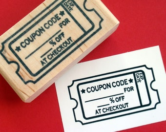 Coupon Code Rubber Stamp Ticket Shape - Handmade by BlossomStamps