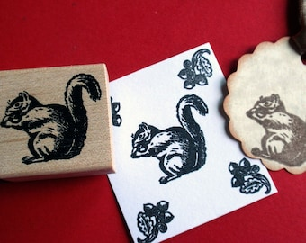 SALE Squirrel Rubber Stamp - Handmade by Blossom Stamps