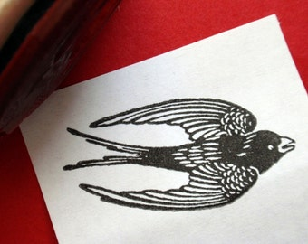 SALE Swallow Bird Rubber Stamp -  Handmade rubber stamp by Blossom Stamps