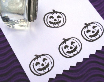 Pumpkin Jack O Lantern Halloween Rubber Stamp - Handmade rubber stamps by BlossomStamps