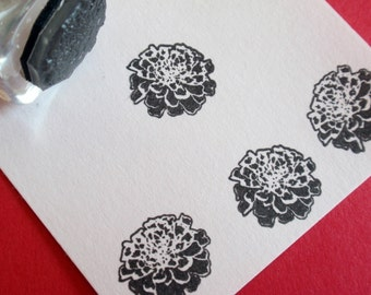 Marigold Flower Rubber Stamp  - Handmade by BlossomStamps