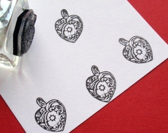 Tiny Heart shaped Locket Rubber Stamp - Handmade by BlossomStamps