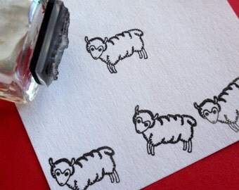 Lamb Sheep Rubber Stamp - Handmade by BlossomStamps