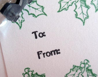 To and From Rubber Stamp for Tags, envelopes, stickers - Handmade by BlossomStamps