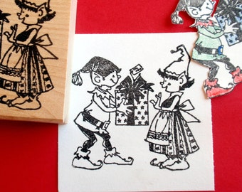 Christmas Elf Rubber Stamp - LARGE - by Blossom Stamps