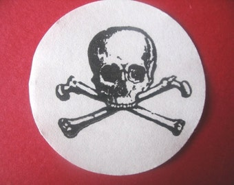 Skull and Crossbones Rubber Stamp -  Handmade rubber stamp by BlossomStamps