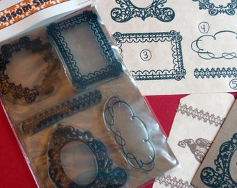 Antique Frames Borders  Rubber Stamp Set of 5  - Handmade by Blossom Stamps