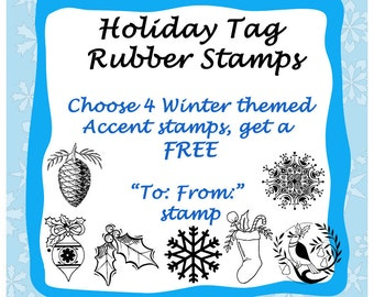 Christmas Rubber Stamps for Gift Tags -  Buy 4, Get 1 Free -  Handmade by Blossom Stamps