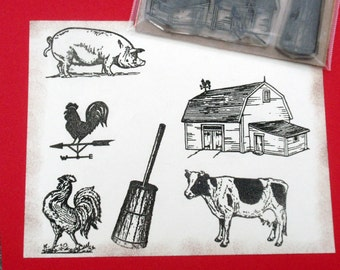 Farm Animals Country Objects  Rubber Stamp Set of 6 - Unmounted plus OPTIONS - handmade by Blossom Stamps