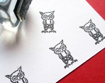 Owl Illustration Rubber Stamp  - Handmade by BlossomStamps