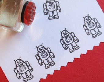 Tiny Robot Rubber Stamp Photopolymer - Handmade by BlossomStamps