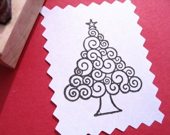 Christmas Tree Rubber Stamp  - Modern Spirals - Original Art by BlossomStamps