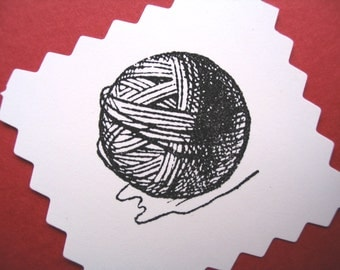 Ball of Yarn Wool Rubber Stamp - Handmade by BlossomStamps