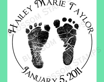 Custom Baby Footprint or Handprint Rubber Stamp  -  by Blossom Stamps