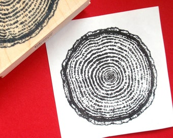 Tree Ring Wood Grain Rubber Stamp LARGE - Handmade by Blossom Stamps