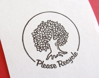 Please Recycle Tree Rubber Stamp - Handmade by BlossomStamps